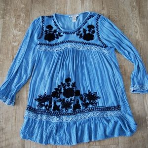 Blue embroidered tunic and/or dress